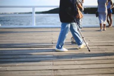 Walking with a crutch, filing a SSDI claim