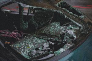 Green Car in an Accident in OKC