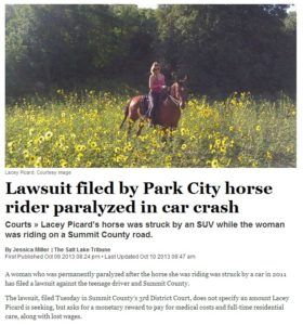 lawsuit filed by park city horse rider paralyzed in car crash