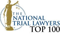 logo of national trial layers award, gold statuette with scales encircled with blue ribbons, seth blum
