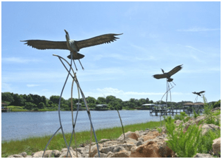 Palm Coast Water Front Park with artwork and sculpture.