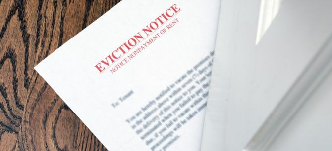 eviction notice slipped under the door in Florida during COVID-19 eviction moratorium