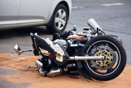 Aftermath of an accident, where the driver will need to contact a motorcycle accident lawyer in Corpus Christi.