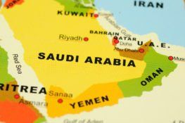 Close up of Saudi Arabia on map
