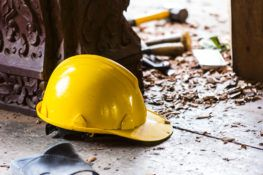 construction hard hat lying on ground