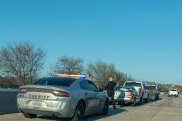 Texas Police car and other cars involved in an accident