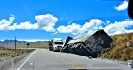 tilted truck after a truck accident