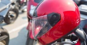 Wear motorcycle helmet for safety.