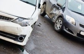 two cars after an accident in Tulsa