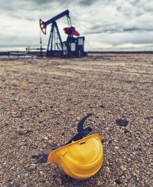 Hat of an oil field worker injured in a McAlester oil field.