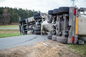 Truck accident on a road in McAlester, Oklahoma.
