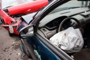 Airbag popping out from accident.