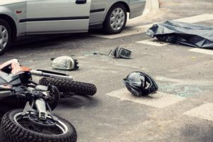 Motorcycle accident along the highway.