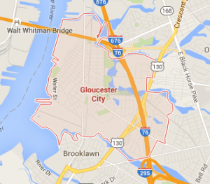 Image of google map for Gloucester City New Jersey and surrounding area.