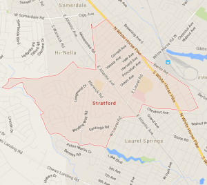 Image of google map snap shot for Stratford New Jersey and surrounding municipalities.