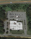 Aerial photograph of Roxbury Police Station and Municipal Court.