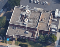 Aerial photograph of Plainfield Police Department and Municipal Court.