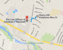 Screenshot of google map depicting the location of Cherry Hill Violations Municipal Court and The Law Offices of Jonathan F. Marshall