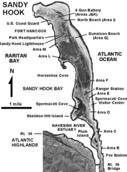 Map of Sandy Hook depicting locations where someone can be arrested by park rangers for a criminal offense.