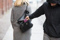 man stealing wallet out of female's purse