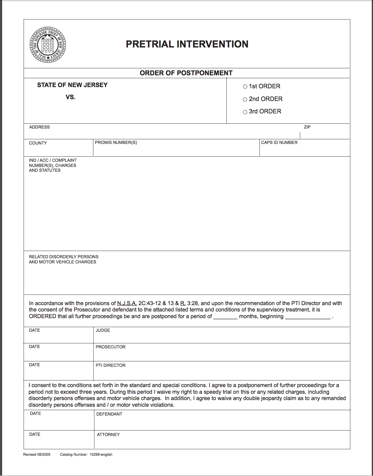 This is what the order of postponement looks like if you are admitted into Pretrial Intervention in New Jersey.