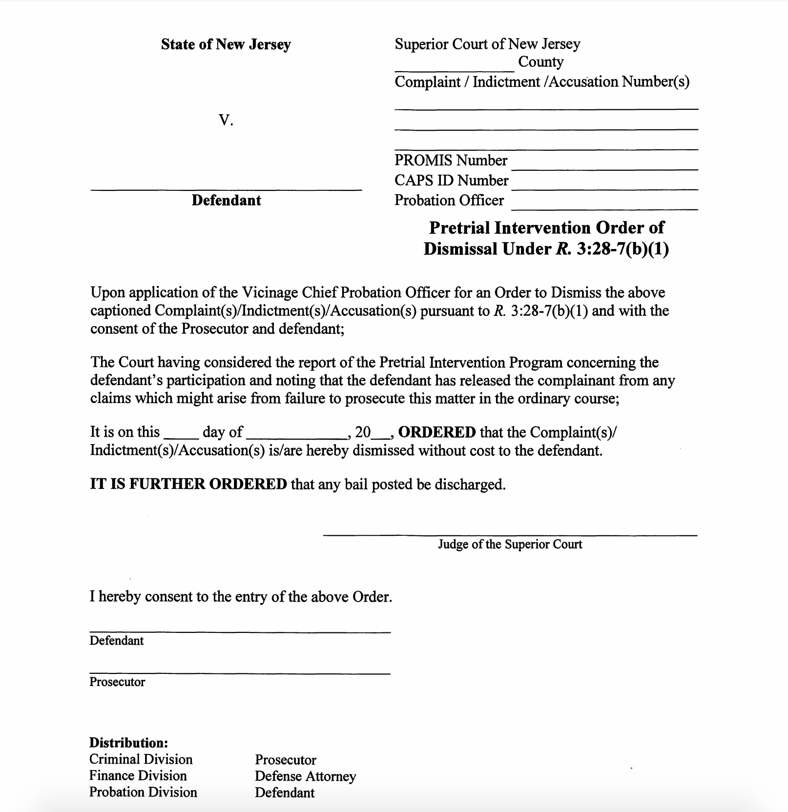 Your criminal charge will be dismissed if you successfully complete the Pretrial Intervention program and this is a copy of the order that will be entered in your favor.