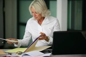 A New Jersey lawyer going through client's records during an expungement process.