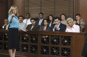 A lawyer in New Jersey speaks with the jury.