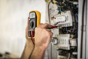 Detail shot of electrician testing voltage
