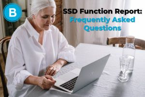 Older woman filling out SSD Function Report