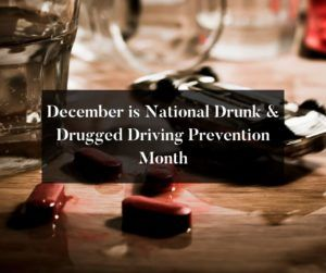 This month is National Drunk & Drugged Driving Prevention Month. It's also called National 3D Prevention Month.