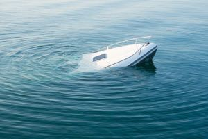 Boat sinking because of boating accident