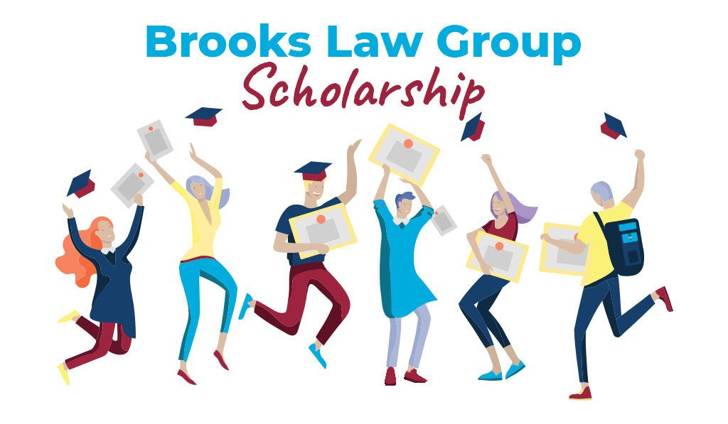 Brooks Law Group Scholarship logo with graduating students