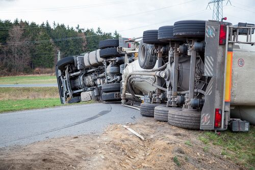 Large Semi Truck overturned after accident in Phenix City, AL