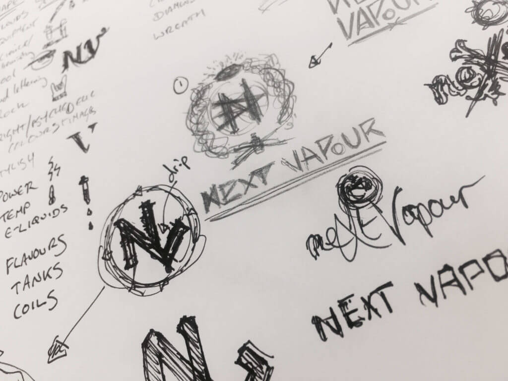 Brainstorming for next vapour logo design