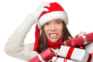 A Woman is stressed with holiday gifts