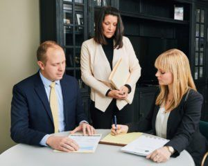 Attorney Andrew Burkavage with fellow personal injury attorneys in Chicago