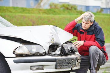 A man after being in a car wreck in Roanoke, Virginia.