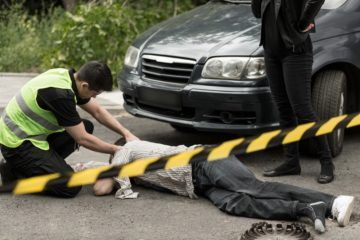 the police officer checked man down hit by a car