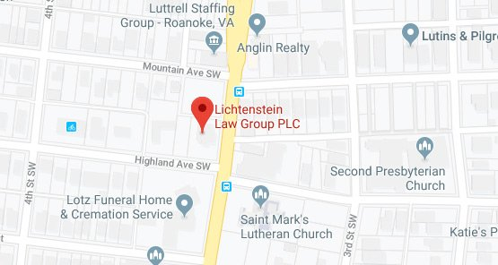 Lichtenstein Law Group PLC Roanoke, Virginia Office Map