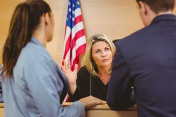 Trial lawyer talking to a judge in Virginia.