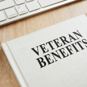 Book about Veteran Benefits on a desk.