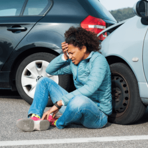 injured woman after a car accident