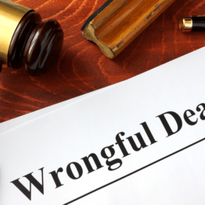 document with wrongful death in title on wooden