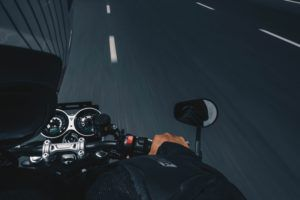 POV of a motorcycle rider on a Halifax highway
