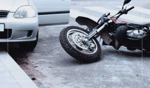 Motorcycle traffic collision accident scene in Houston, Texas.