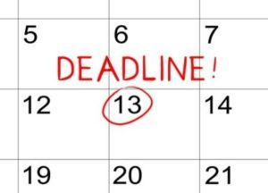 Calendar with a deadline
