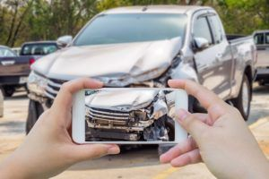 car accident photo using a phone