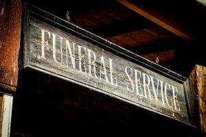 funeral service sign