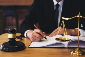 A car accident attorney going over a case